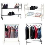 Metal Shabby Chic Vintage French Style Storage Shoe Rack Clothes Hanging Rail
